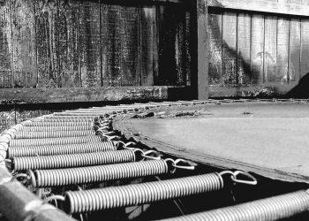 Black and white trampoline springs