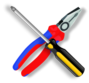 Illustrated hammer and screwdriver