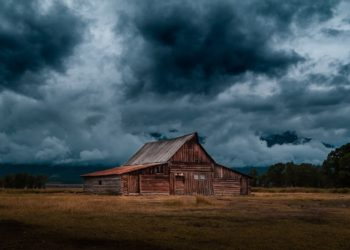 Cabin in storm