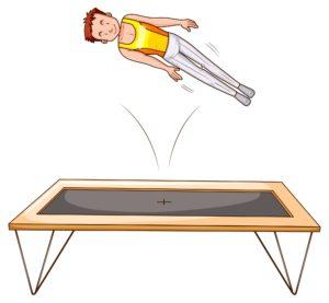 Man athlete jumping on trampoline