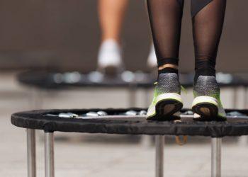 Feet on mini trampolines