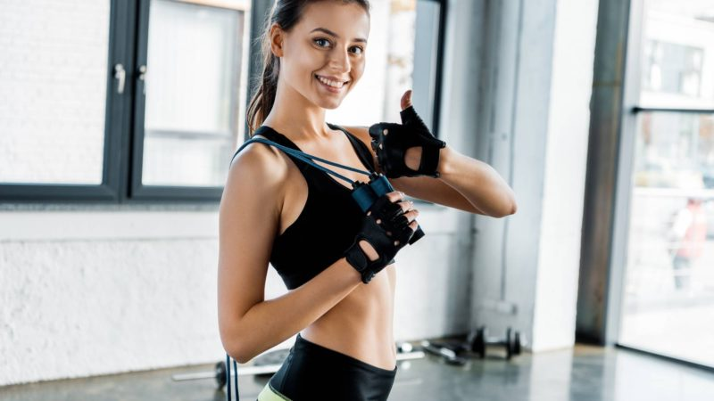 Smiling woman after workout
