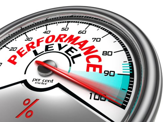 performance level conceptual meter indicate hundred per cent, isolated on white background