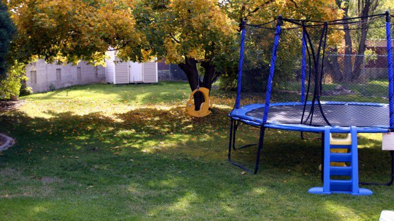 Trampoline in backyard in the fall