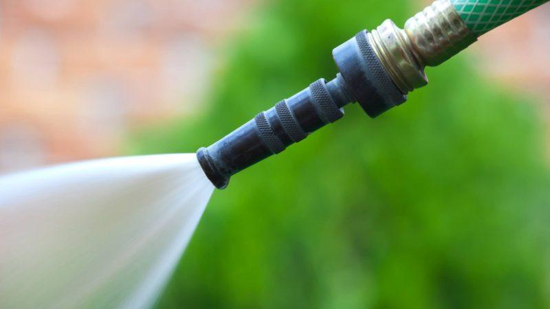 Water from a garden hose